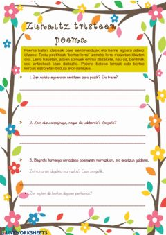 Interactive worksheet Zuhaitz tristeen poema
