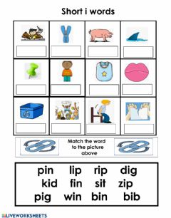 Interactive worksheet Short i word box