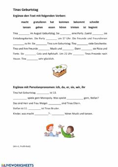 Interactive worksheet Tinas Geburtstag