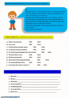 Interactive worksheet Mark and his friends (reading comprehension)