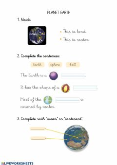 Interactive worksheet Planet earth