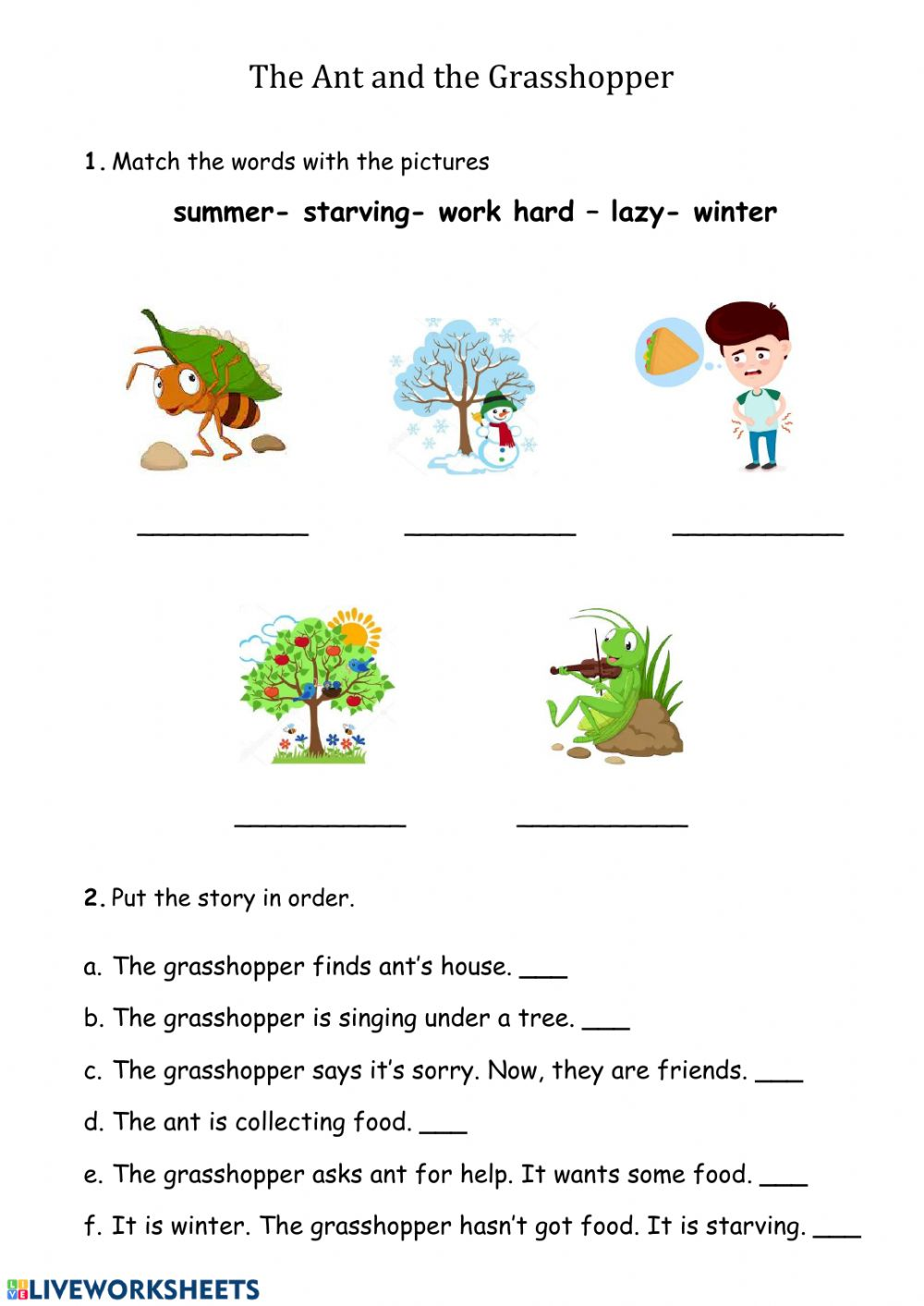 The ant and the grasshopper - Interactive worksheet