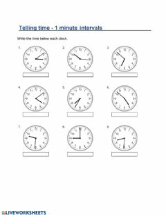 Interactive worksheet MA2-Friday (Telling time one minute intervals)