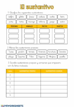 Interactive worksheet El sustantivo