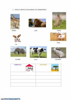 Interactive worksheet Animals salvatges i domèstics