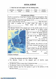 Interactive worksheet The Mariana Trench