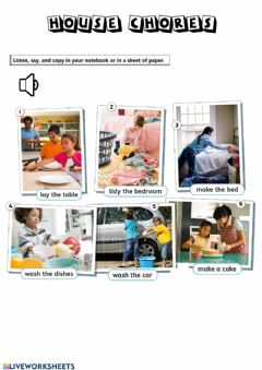 Interactive worksheet House Chores Listen and Copy