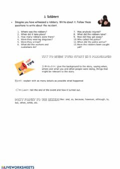 Interactive worksheet A robbery - writing