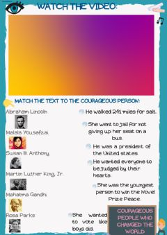 Interactive worksheet Courageous people who changed the world