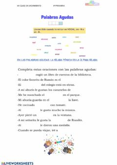Interactive worksheet Palabras agudas
