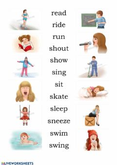 Interactive worksheet Verbs with pictures