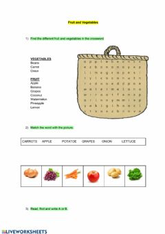 Interactive worksheet Fruit and vegetables