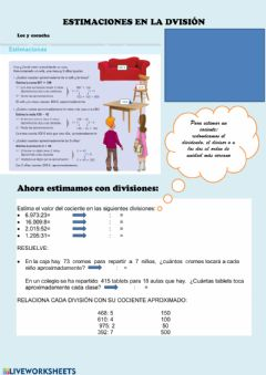 Interactive worksheet Estimaciones en las divisiones
