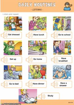 Interactive worksheet Daily Routines Listening