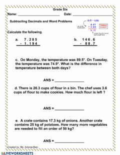 Interactive worksheet Subtracting Decimals Word Problems