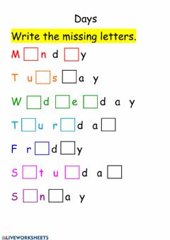 Interactive worksheet Days missing letters