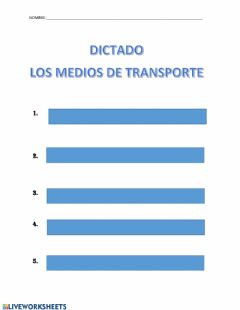 Interactive worksheet Dictado los medios de transporte