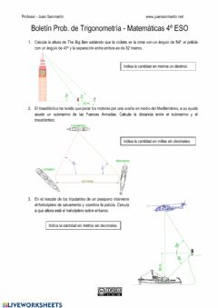 Interactive worksheet Boletín Trigonometría I
