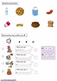 Ficha interactiva Food Multiple Choice + Have You Got...?