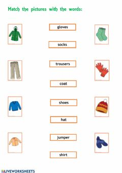 Interactive worksheet Clothes match