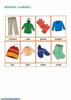 Interactive worksheet Interactive clothes