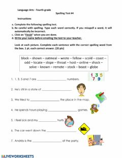 Interactive worksheet Spelling Test long o and short o
