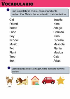 Interactive worksheet Vocabulario. Unir con flechas