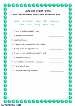 Interactive worksheet Land and Water Forms