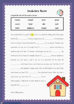 Interactive worksheet Vocabulary: Houses