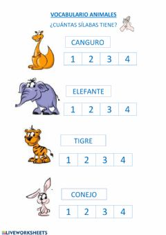Ficha interactiva VOCABULARIO ANIMALES SÍLABAS