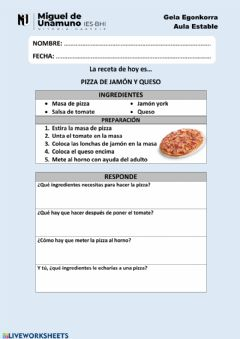 Interactive worksheet Receta: Pizza de jamón y queso