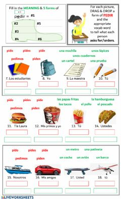 Ficha interactiva E - I Stem Changing Verbs:  PEDIR