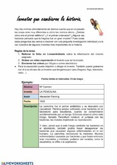 Interactive worksheet Inventos