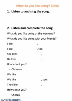 Interactive worksheet Song -What do you like doing?-