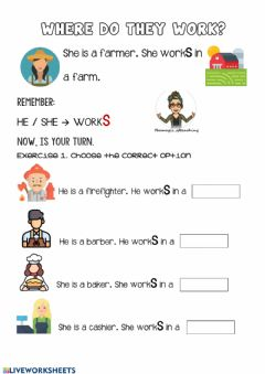 Interactive worksheet Work places