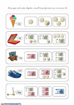 Interactive worksheet Euros