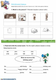 Interactive worksheet Assessment: My birthday, family and home