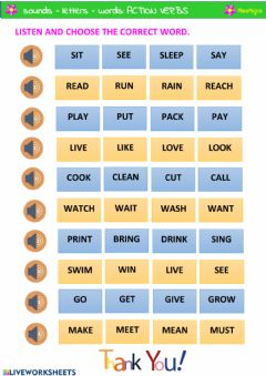 Interactive worksheet Action verbs listening