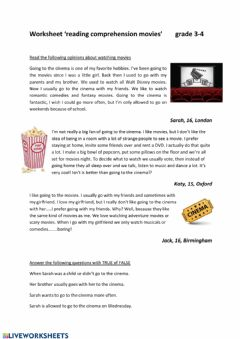 Ficha interactiva Reading comprehension movies