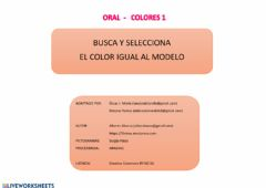 Interactive worksheet Oral-colores 1