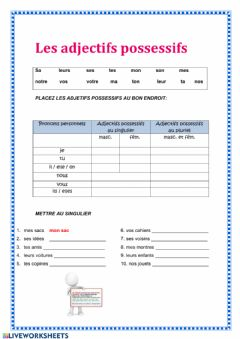 Interactive worksheet Adjectifs possessifs