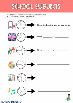 Ficha interactiva School Subjects and time