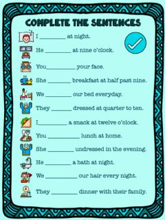 Interactive worksheet Daily routines Choose the correct option