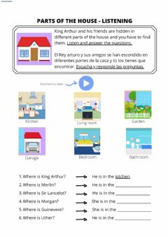 Interactive worksheet Parts of the house listening