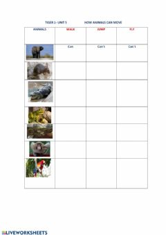 Interactive worksheet How animals can move