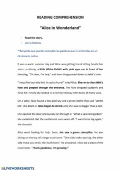 Interactive worksheet Alice in wonderland