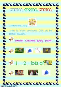 Interactive worksheet Spring spring spring song