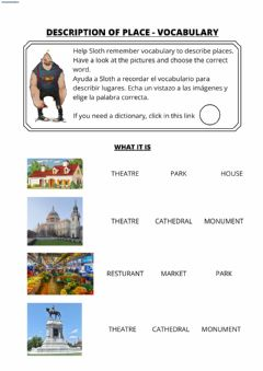 Interactive worksheet Description of place - VOCABULARY