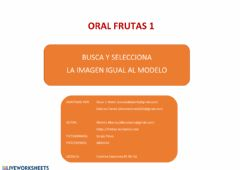 Interactive worksheet Oral  frutas 1