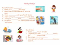 Interactive worksheet Unit 2 Healthy Life style Complete